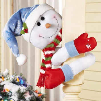 Snowman Lovable Hugger Poseable Arms Winter Porch Decor