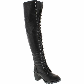 Shoe Dezigns Illusion 01 Ok Womens Thigh High Lace up Chunk Heel Combat Boots
