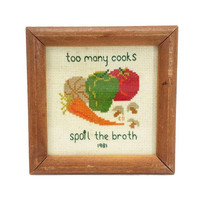 "Cross Stitch Framed Vintage Kitchen Needlepoint Wall Hanging Decor Retro Art Food Vegetable ""Too Many Cooks Spoil The Broth"" Finished"