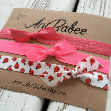 Tie knot baby headband, lady bug print bow baby headband, baby headband set, shabby chic, girls headband, teen, infant headband