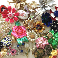Enamel Flower Brooch Lot 50+ Pieces Designer Signed Vintage Fashion Jewelry