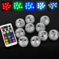 10pcs/Set Wedding Decoration Remote Controlled Waterproof Submersible Party Mini LED Light with 2*CR2025 Battery For Christmas