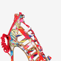 Caged Lace Up Open Toe Heels - Floral
