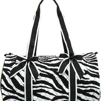 Quilted Zebra Print Girls Dance Cheer Carry On Duffel Travel Bag (Black Trim)