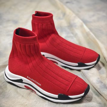 Balenciaga Triple-s Knit Mid Ht0919 Red White Black Socks Shoes - Best Online Sale