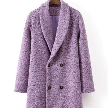 Purple Buttoned Long Sleeve Wool Coat
