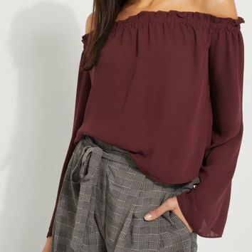 Burgundy Smocked Off Shoulder Top
