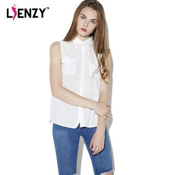 2016 Summer OL Women Shirts POLO Neck Sleeveless Double Pocket Solid White Womens' Shi
