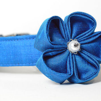 Wedding Dog Collar and Flower - Ocean Blue Silk With Metal Hardware - peacock blue, designer dog collar, matching leash