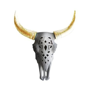 The Ledoux | Large Carved Cow Skull | Faux Taxidermy | White + Gold Glitter Horns Resin