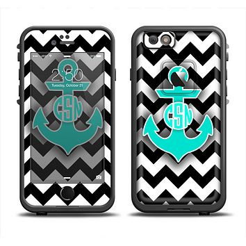 The Teal Green Monogram Anchor on Black & White Chevron Apple iPhone 6 LifeProof Fre Case Skin Set