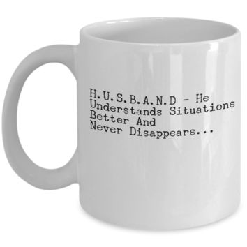 "Funny Mug For Husband Wife - Anniversary Birthday Gifts for Couples - Fun Mug For Him & Her - Valentines Day Gifts For Men & Women - White Ceramic 11"" Vday Jar Cup For Coffee & Cookies"