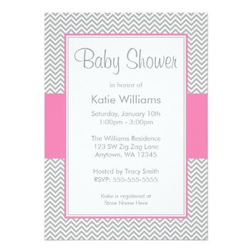 "Pink and Gray Chevron Baby Shower Invitations 5"" X 7"" Invitation Card"