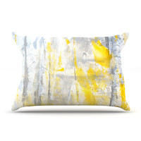 "CarolLynn Tice ""Abstraction"" Grey Yellow Pillow Sham"