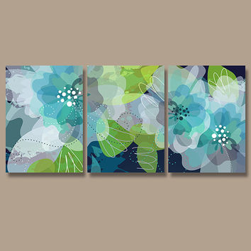Wall Art Canvas Watercolor Artwork Flourish Flower Floral Design Navy Blue Green Aqua Nursery Set of 3 Prints Decor Bedroom Bathroom Three