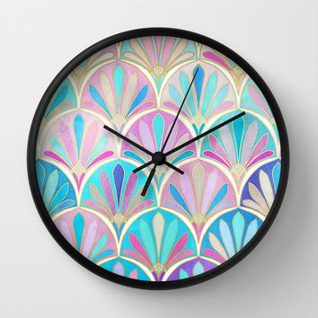 Glamourous Twenties Art Deco Pastel Pattern Wall Clock by Micklyn