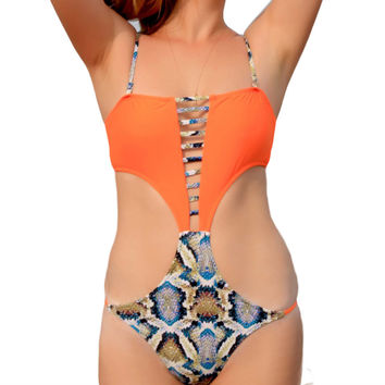Sexy Orange Monokini Swimsuit Swimwear Women One Piece Bodysuit High Cut Swim Suit Backless Bathing Clothes