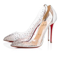 Cl Christian Louboutin Degrastrass Pvc Version Silver Strass 18s Bridal 1180606cn1h