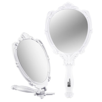 Decorative Handheld Compact Mirror- Embossed Butterfly Design- Folding Handle- Lightweight & Portable- 180 Degrees Full Folding- Premium Quality- Ideal For Your Makeup Routine- Travel Mirror (White)