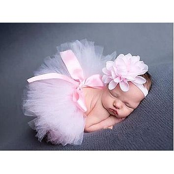 Newborn Baby Girls Headdress flower Tutu Clothes Dresses Baby Cute Beautiful Dress Pink Photo Prop Outfits 0 6 12 24M