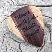 Handmade Premium Wood Guitar Pick - Cocobolo - Bubinga and Birdseye Maple - Laser Engraved on Both Sides