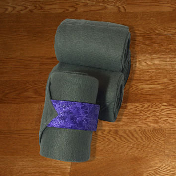 Equine Polo Wraps/Gray Polo Wraps w/Purple Galaxy Velcro Strap