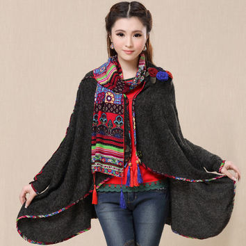 2017 New vintage cardigan for women autumn spring ethnic long sleeve flowers embroidery sweater loose boho knitwear shawl coat