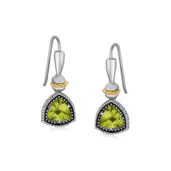 18K Yellow Gold and Sterling Silver Trilliant Cut Peridot Drop Earrings
