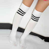 Women's Football Striped Long Tube Socks Soccer Lacrosse Rugby Sport Knee High White Socks