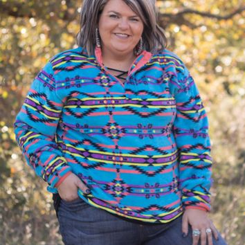 Teal Tribal Southern Marsh Pullover