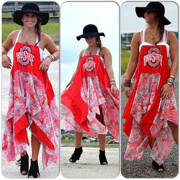 College Football Tailgating dress, Free spirit college sports team game day sundress, Collegiate spirit, OS Red n Gray, True rebel clothing