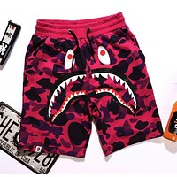 BAPE SHARK Popular Women Men Summer Leisure Shark Mouth Print Camouflage Shorts Pants Purple I