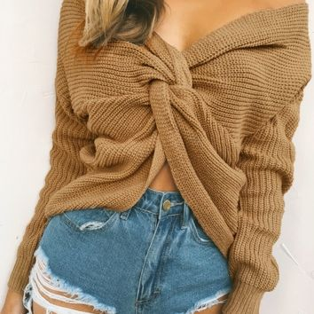 V Neck Long Sleeve Solid Pullover Sweater - NOVASHE.com
