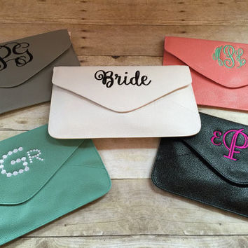 Clutch Purse- Monogrammed Clutch- Personalized evenlope clutch- Bridesmaid gift --Bridal Purse -- SALE
