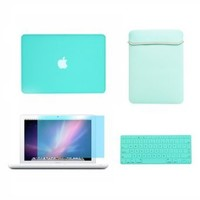 "TopCase® Macbook White 13"" 13-inch (A1342 / Latest) 4 in 1 Bundle - Rubberized Hot BLUE Hard Case Cover + Matching Color Soft Sleeve Bag + Silicone Keyboard Cover + LCD HD Clear Screen Protector With TopCase® Mouse Pad"