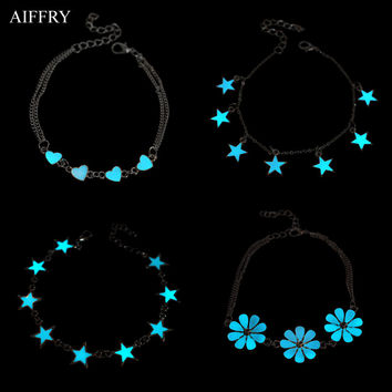 Star Heart Glowing Bracelet 2016 Fashion Charm Bracelets For Women Glow In The Dark Jewelry B2103