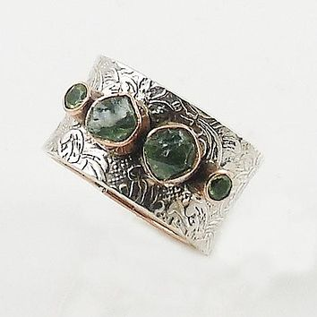 Moldavite& Peridot Two Tone Sterling Silver Band Ring