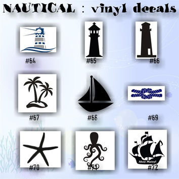 NAUTICAL vinyl decals - 64-72 - anchor vinyl stickers - anchors - sanddollar - seashells - shark - car decal - car sticker