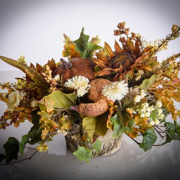 Gourds, Sunflower and Berry Fall Floral Arrangement  (FA704)