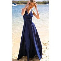 Navy Blue Multi way Convertible Wrap Maxi Dress Dresses