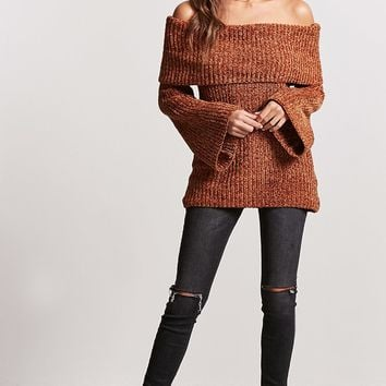 Foldover Bell Sleeve Sweater
