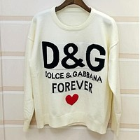 D&G Autumn Winter Popular Women Casual Jacquard Long Sleeve Knit Sweater Top Sweatshirt White