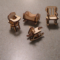 Miniature dollhouse doll house baby furniture high chair rocking horse cradle rocking chair