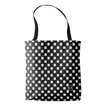 Monogram Polka Squares Black Tote Bag