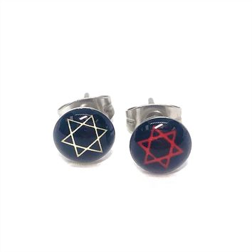 Small Star Of David Stainless Steel Studs