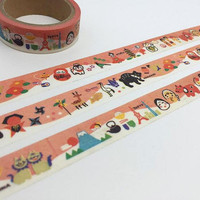 Japanese theme washi tape 5M fuji mountain lucky cat lucky doll japan culture deco masking tape super cute mascot sticker tape mascot icon