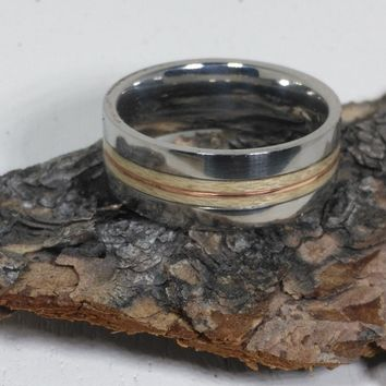 Maple and Copper Stainless Steel Bentwood Ring