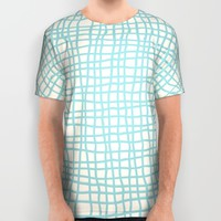 Blue Scribbles 06 All Over Print Shirt by Aloke Design