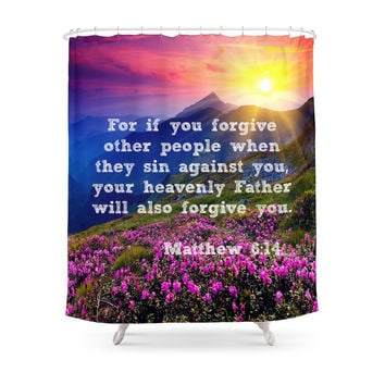 Society6 Matthew 6:14 Shower Curtain