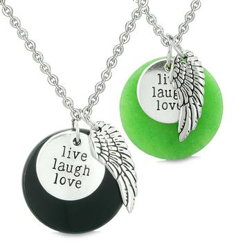 Guardian Angel Wing Live Laugh Love Inspirational Amulet Couples Set Agate Green Quartz Necklaces